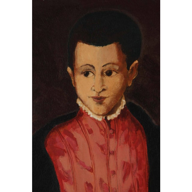 """Young Spanish Man in Black Coat"" Oil on Canvas For Sale - Image 4 of 8"