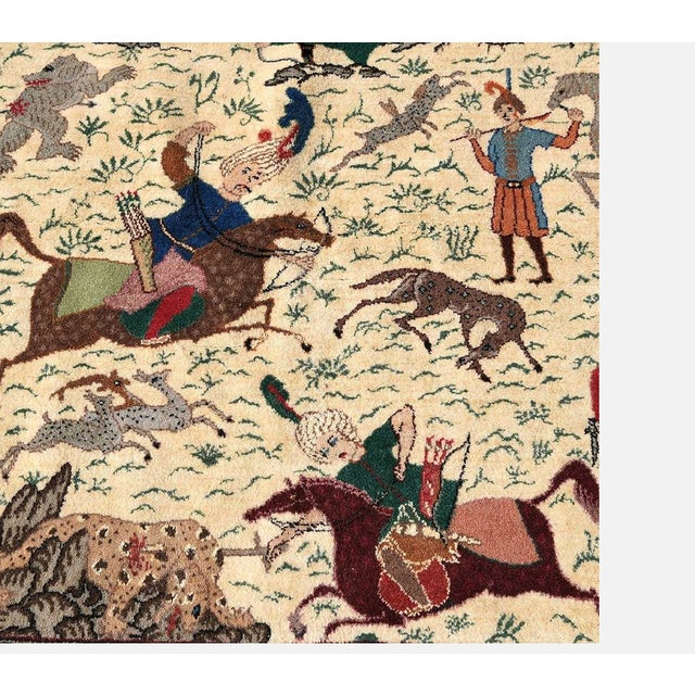 Traditional Qum Hunting Rug For Sale - Image 4 of 5
