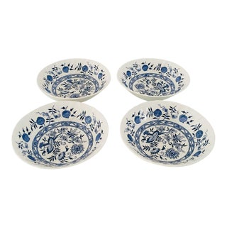 Vintage Blue & White English Ironstone Bowls - Set of 4