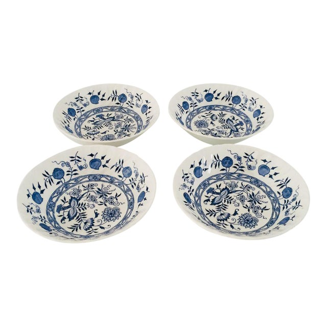Vintage Blue & White English Ironstone Bowls - Set of 4 | Chairish