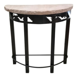 Southwestern Style Stone Slab Top & Metal Table