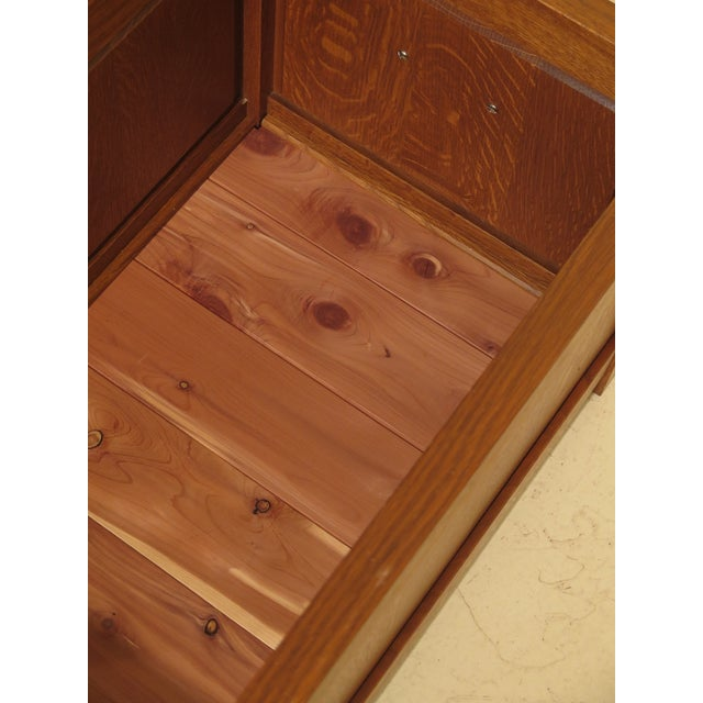 Arts & Crafts Stickley Inlaid Top Oak Blanket Chest For Sale - Image 10 of 13