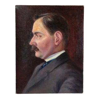 Early 1900s French Man Portrait Oil on Canvas