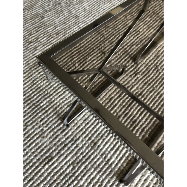 Contemporary Chrome X Frame Side Tables - a Pair For Sale - Image 3 of 4