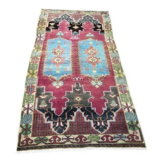 1960s Vintage Turkish Tibal Rug - 3′5″ × 7′4″ For Sale