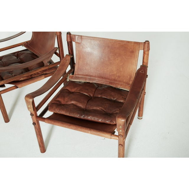 Mid-Century Modern Rare Set of Four Arne Norell Safari Sirocco Chairs, Sweden, 1960s For Sale - Image 3 of 13