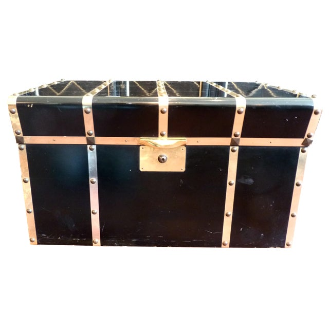 Lane Small Black Trunk with Brass Straps For Sale