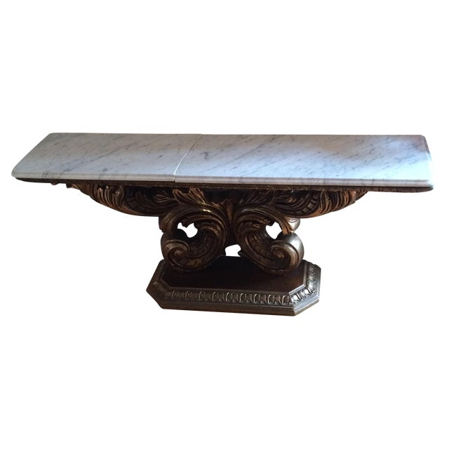 Marble Pedestal Console Table - Image 1 of 5