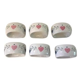 Vintage Ceramic Napkin Rings- Set of 6 For Sale