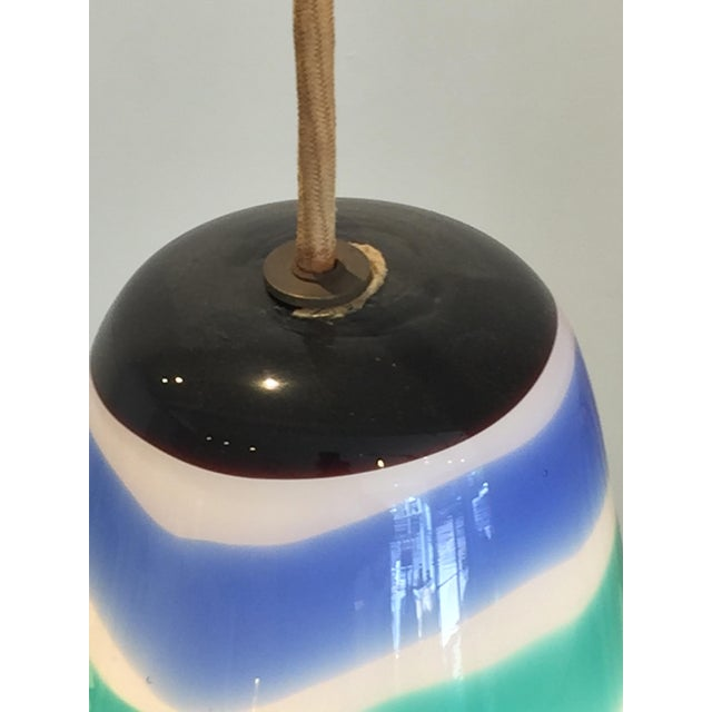 Mid Century Striped Pendant Light For Sale In San Francisco - Image 6 of 7