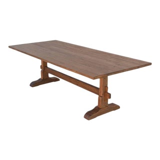 Traditional Collapsible Trestle Table in Vintage Pine For Sale