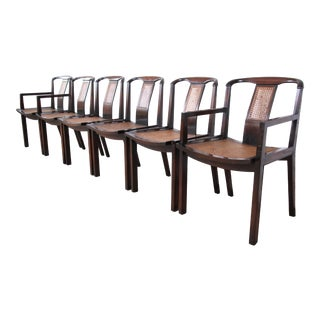 Michael Taylor for Baker Mid-Century Sculpted Walnut and Cane Dining Chairs, Set of Six For Sale