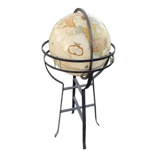 "Vintage Wrought Iron 16"" Replogle Floor World Globe For Sale"
