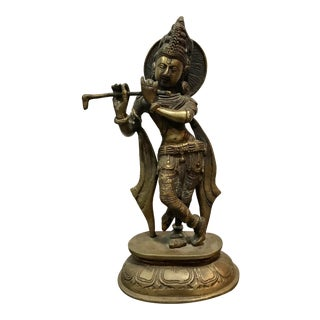 Vintage India Brass Hindu Krishna Playing Flute Statue For Sale