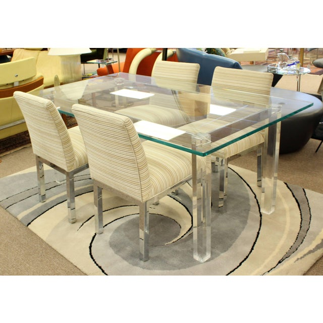 1970s Mid-Century Modern Hollis Jones Glass & Lucite Chrome Dining Table For Sale - Image 9 of 10