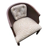 Image of Mid-Century Brunschwig & Fils Fabric Cane Chair For Sale
