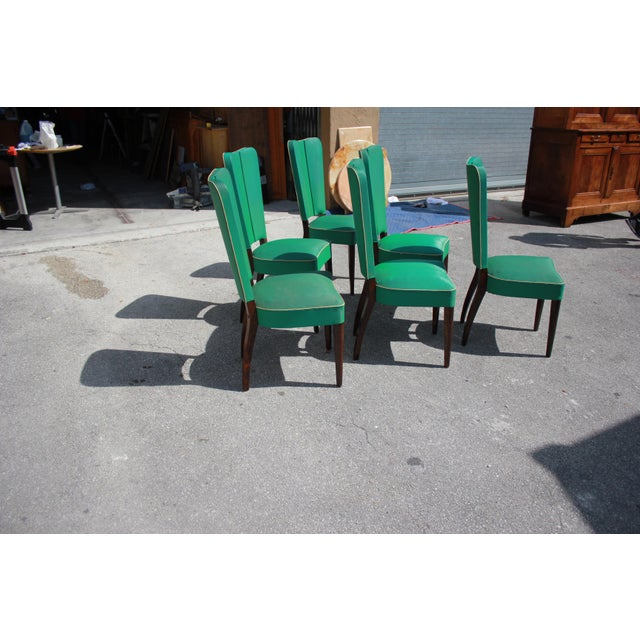 Monumental Set OF 6 French Art Deco Solid Mahogany Dining Chairs By Jules Leleu Circa 1940s - Image 7 of 13