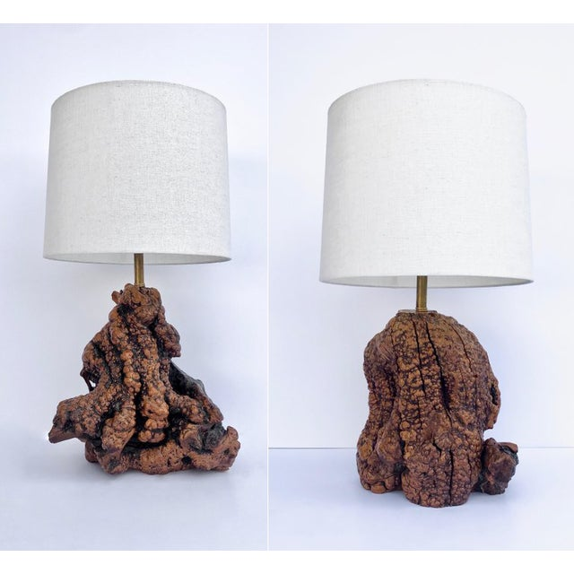 Wood Mid Century Burl Root Table Lamps - a Pair For Sale - Image 7 of 7