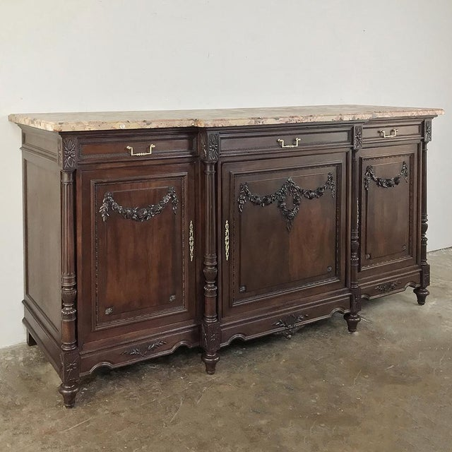 French 19th Century French Walnut Louis XVI Marble Top Buffet For Sale - Image 3 of 13