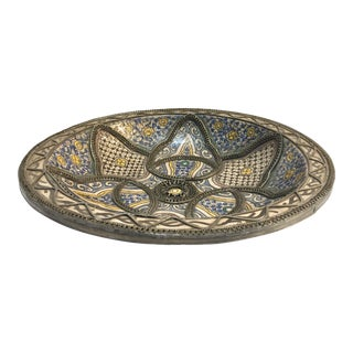 Moroccan Ceramic Plate Adorned With Silver Filigree For Sale