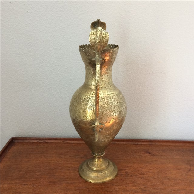 Boho Chic Vintage Brass Vase with Snake and Fish Handles For Sale - Image 3 of 11
