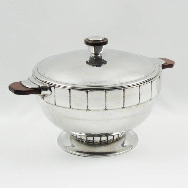 Pewter Art Deco Modernist Tureen Covered Dish Centrepiece by h.j. Geneve For Sale In Atlanta - Image 6 of 9