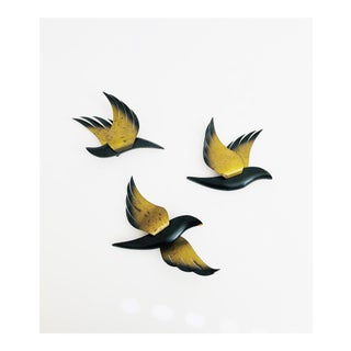 Mid Century Wood and Brass Wall Birds - Set of 3 For Sale