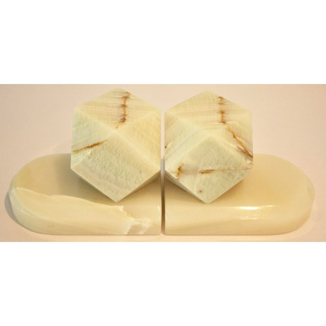 Carved Onyx Stone Geometric Sculptures / Bookends - A Pair - Image 4 of 9