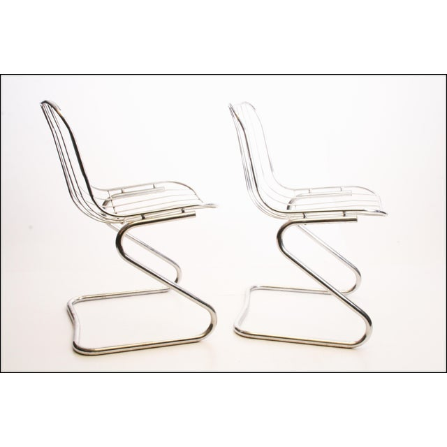 Vintage Italian Chrome Metal Dining Chairs - Set of 4 - Image 4 of 11