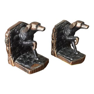 Set Of 2 Copper Hunting Setter Dog Bookends