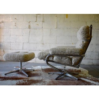 Mid Century Modern Chrome Lounge Chair / Recliner + Ottoman Preview