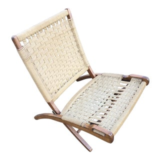 Danish Modern Wegner Style Folding Rope Chair
