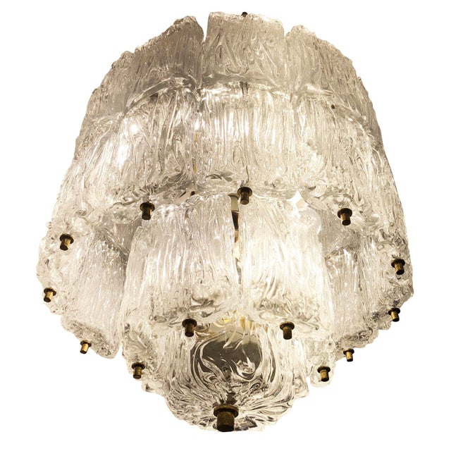 Metal Barovier and Toso Textured Glass Chandelier, Italy, 1950's For Sale - Image 7 of 8