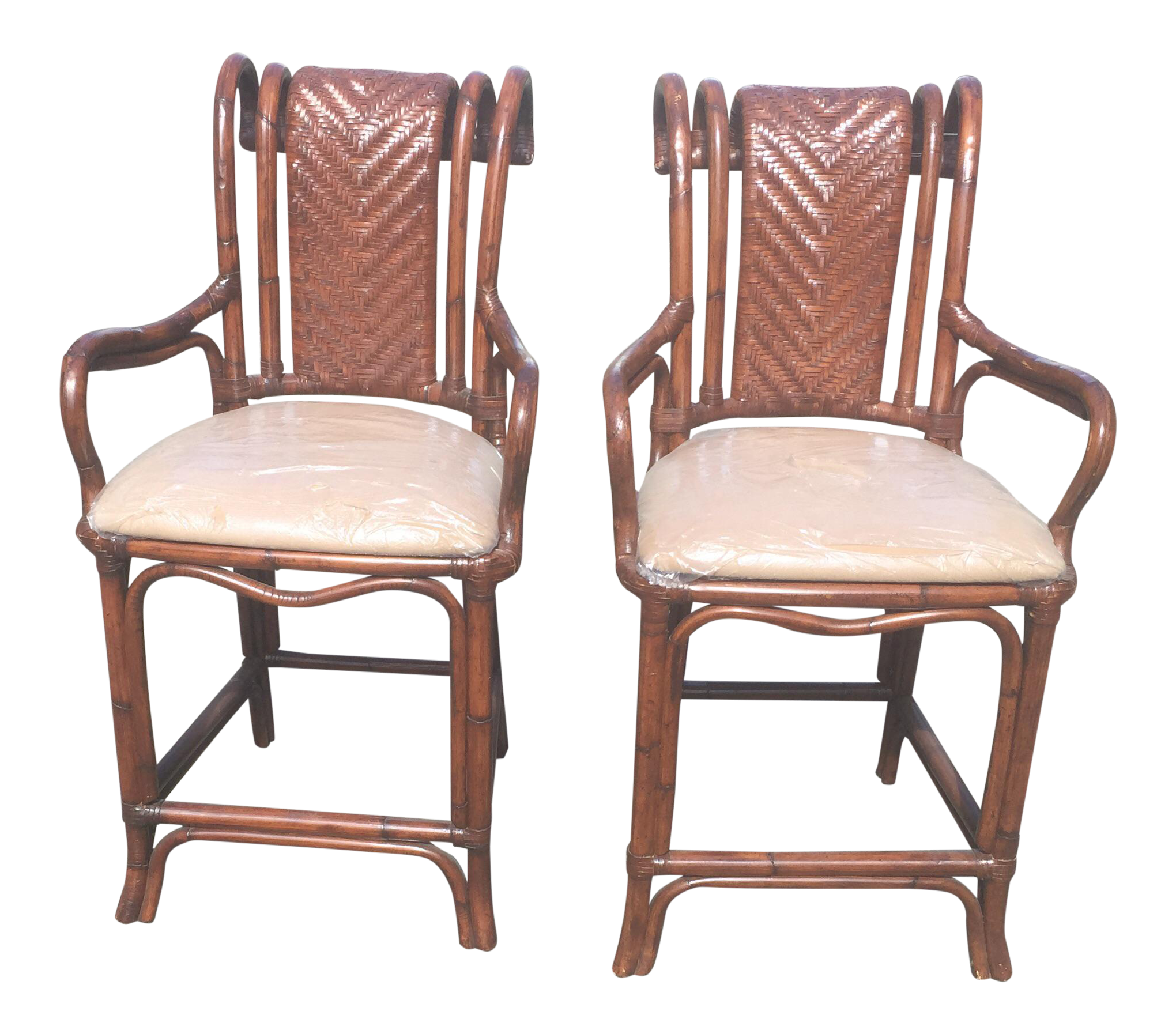 Rattan Bamboo Bar Stools A Pair Chairish