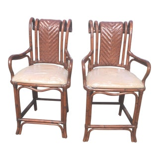 Rattan Bamboo Bar Stools - A Pair For Sale