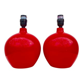 Red Polished Ceramic Ball Lamps - a Pair For Sale