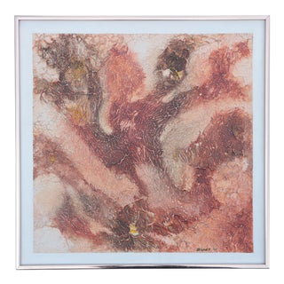 1975 Textured Original Abstract Painting in Copper For Sale