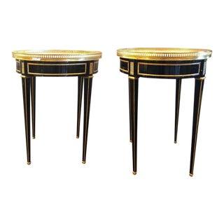 Ebony Pierced Bronze Galleried Bouillotte / End Tables Manner of Jansen - a Pair