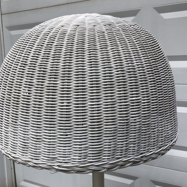 Beautiful wicker turtle floor lamp with Table. Lampshade included. Perfect for the interior designer.
