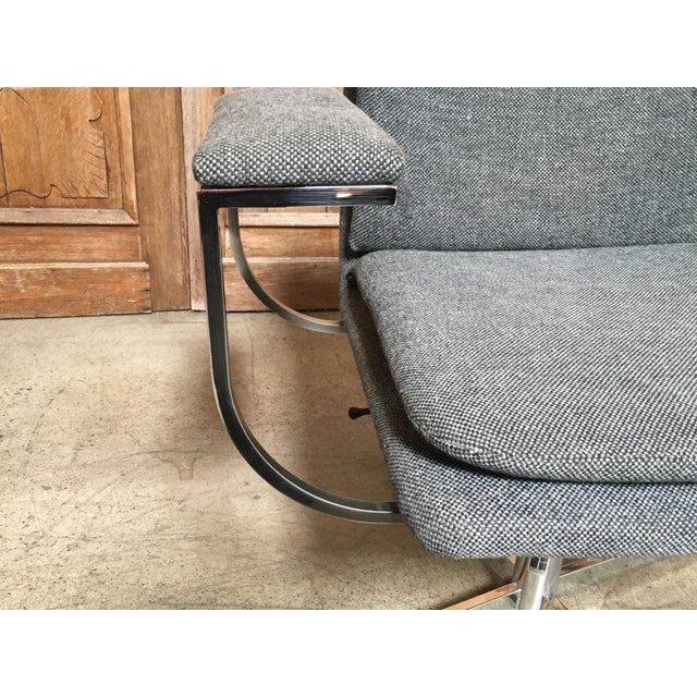 Mid-Century Modern Fortress Blue Upholstered Chrome Swivel Desk Chair For Sale - Image 9 of 10