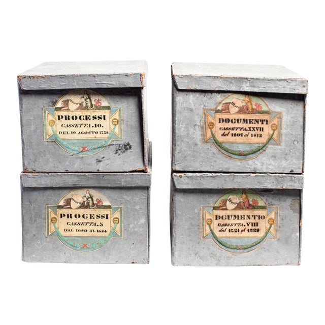"Antique grey painted Italian deed boxes from Parma Ca. 1880 Chalky paint has wear. Two boxes labeled ""Processi"" and two..."