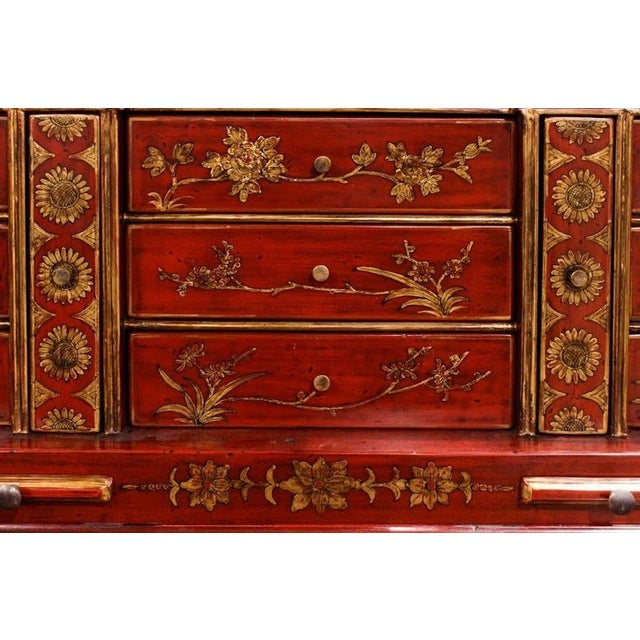 Mid 20th Century Mid 20th Century George III Style Chinoiserie Red Lacquered Secretary Bookcase For Sale - Image 5 of 8