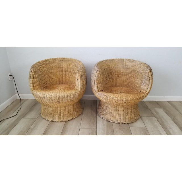 Mid-Century Modern 1960's Postmodern Eero Aarino Attributed Wicker Chairs and Coffee Table - Set of 3. For Sale - Image 3 of 13