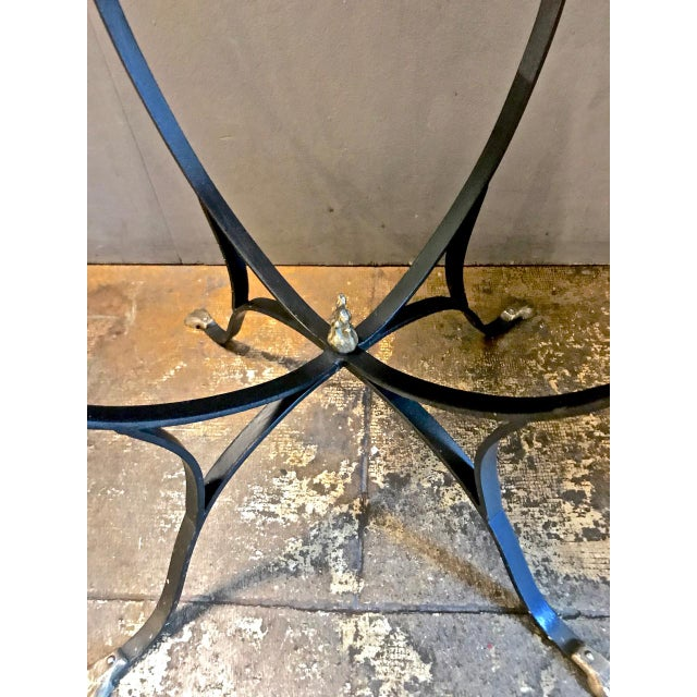 Metal Pair Art Deco Forged Iron and Brass Side Tables For Sale - Image 7 of 10
