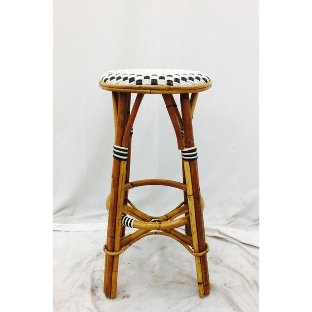 Vintage Italian Rattan Bistro Bar Stool For Sale In Raleigh - Image 6 of 7