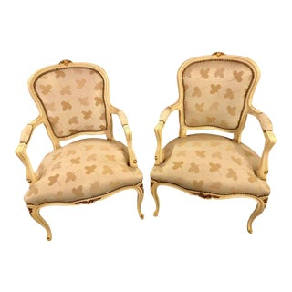 French Louis XV Style Parcel Gilt & Paint Decorated Bergere Chairs - A Pair For Sale