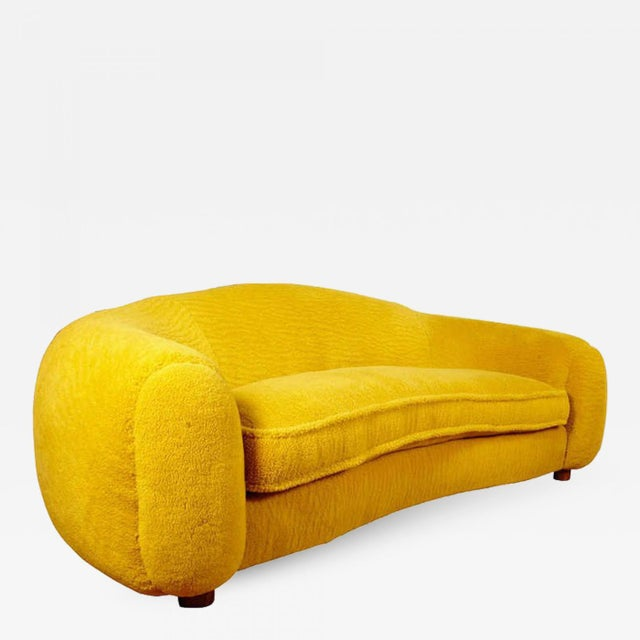 """Jean Royère Genuine Iconic """"Ours Polaire"""" Couch in Yellow Wool Faux Fur For Sale - Image 11 of 11"""