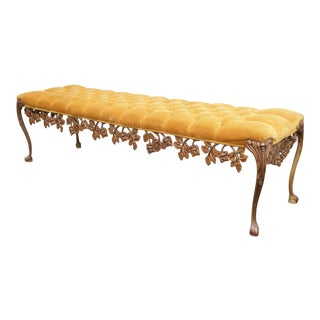 1950s Vintage Hollywood Regency Scrolled Skirt Tufted Gold Bench French Provincial For Sale