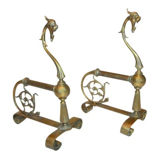 1920s French Brass Gothic Style Andirons - a Pair