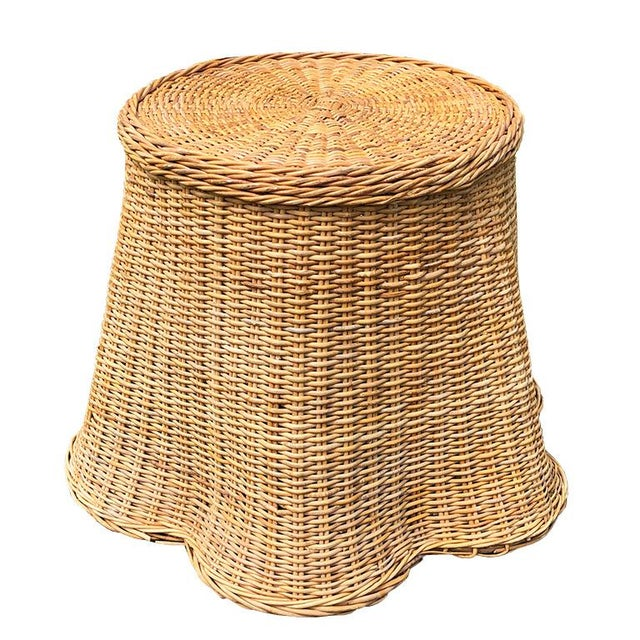 1970s Round Wicker Bamboo Rattan Trompe l'Oeil Ghost or Draped Lounge Set 3 Pieces 1970s For Sale - Image 5 of 12